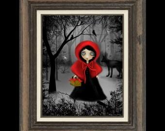 Whimsical Fairytale Art Print -- Dark - fantasy -  Art  Digital Painting - Red Riding Hood