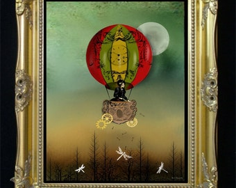 Steampunk Hot Air Balloon Art Digital Painting -- Winds of Change - Shown in Gothic Beauty Magazine