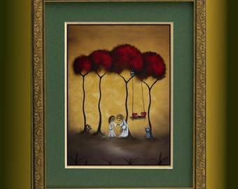 Whimsical Creeper Art  Print -- Limited Edition of 50 -- Large Print 11x14 -- TWO HEARTS