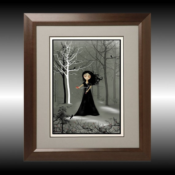 Dark Goth Girl Art Print --  Night is Falling