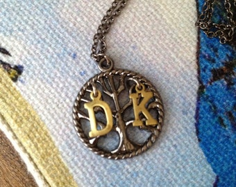 Sitting in a Tree Initial Necklace - rustic, personalized jewelry