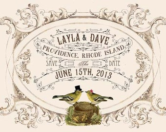 Printable DIY Wedding Save the Date Cards - Digital Download - Customized Vintage Victorian Love Birds Wedding