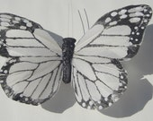 Butterfly Hair Clip large white and black feather butterfly hand made hair clip