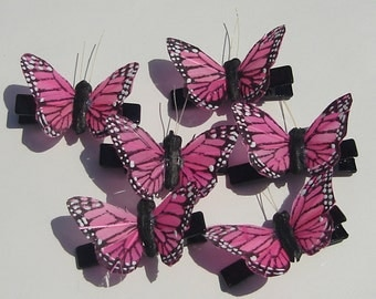 Butterfly Hair Clip small hot pink Monarch feather butterfly hand made hair clip Small Butterfly Hair Clip