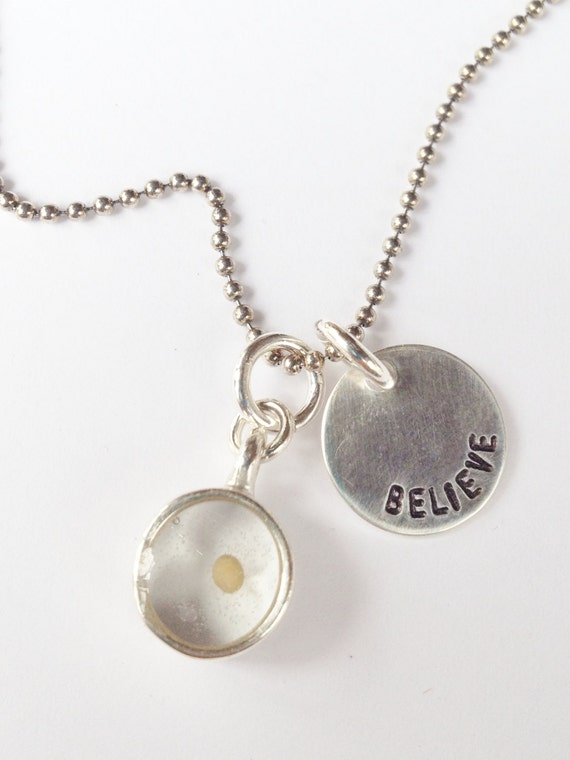 Mustard Seed Charm, Silver Personalized Hand Stamped Necklace, Mustard Seed Necklace, Faith Charm, Re