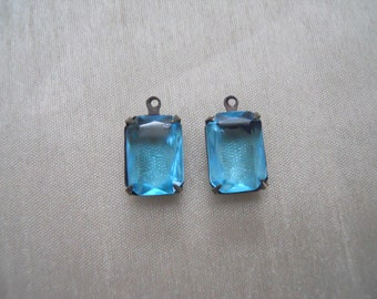 Vintage Blue Mounted Faceted Glass Stones