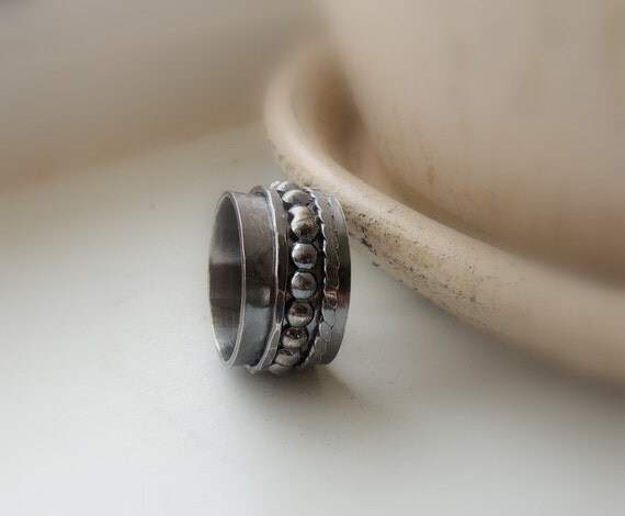Rustic Sterling Spinner Ring - Dark Rustic Fiddle Ring - SR119