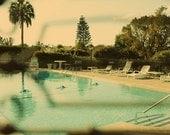 Retro Swimming Pool -  Fine Art Print 11x16 - Palm Trees  Retro Travel Photography