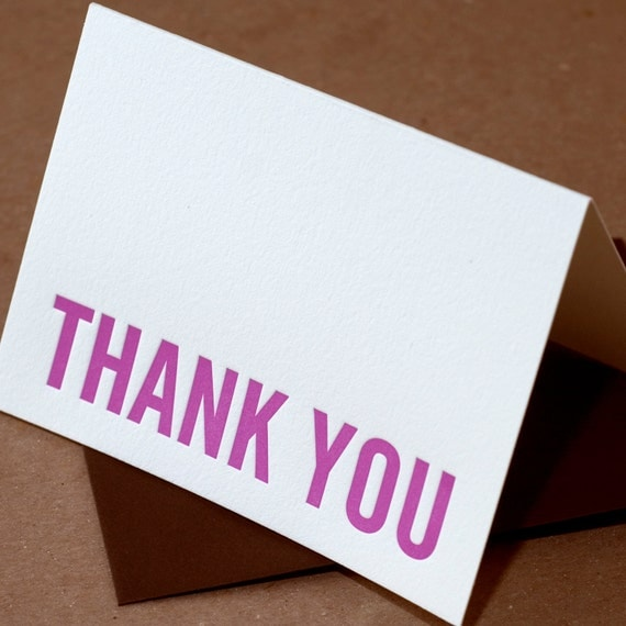 Letterpress Thank You Cards : Fuchsia Modern Block Thank You Notes - box of 25 small folded cards w envelope color choice