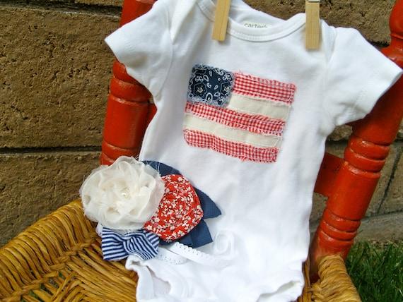 Raggy Flaggy Onesie with Matching Headband--Newborn Size--ready to ship