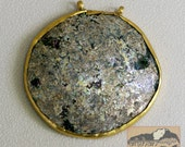 Roman Glass Pendant, Gold Vermeil, 3'' diameter, Item 82