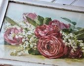 Paul De Longpre ROSES print in a vintage white frame