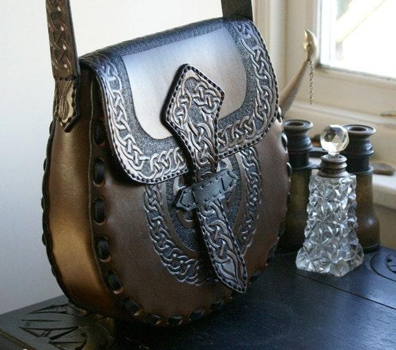 Leather Handbag-Celtic Leather Handbag-Tooled Leather Handbag-Leather Handbags Celtic Knotwork-Tooled Purse Handbag Hipbag-Leather Hipbags-