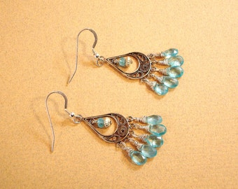 natural apatite gemstone and antiqued sterling silver chandelier earrings - Made to order