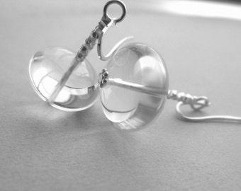 Clear quartz stone earrings.