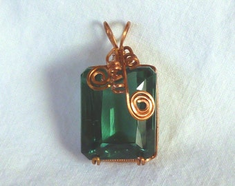 24MM x 19MM emerald cut green quartz copper wire wrapped pendant