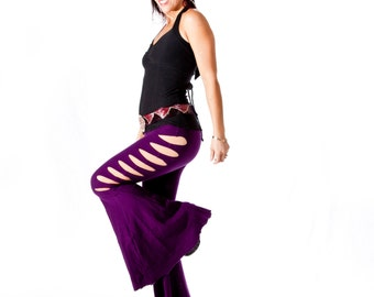 Sexy Flared pants with cut outs, BOMBSHELL PANTS, burning man, festival clothing, dancewear