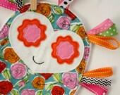 Citrus Roses Owl Ribbon Tag Loop Lovey Security Blanket