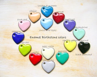 Enamel Heart Charm in Birthstone Color Heart Pendant MADE TO ORDER