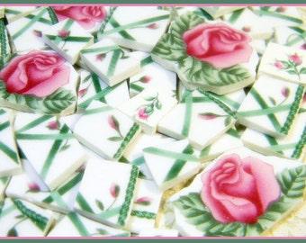 China Mosaic Tiles - PiNK RoSeS on TReLLiS - Vintage Broken Plate Tiles