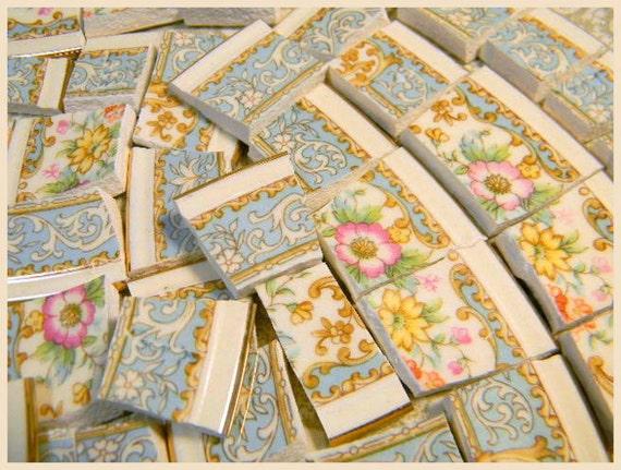 China Mosaic Tiles Vintage Blue Lace Pink Roses Mosaic