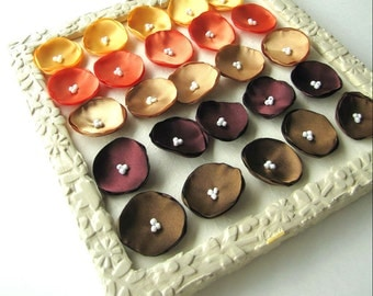 Satin fabric handmade sew on mini flower appliques, fabric poppy embellishments (25pcs)- FALL COLORS (Yellow, Orange, Gold, Burgundy, Brown)