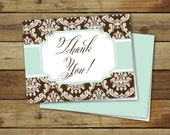 Printable thank you notes, folded thank you cards, garden damask in brown and blue, instant download