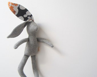 Small Bunny Rabbit hare doll soft fabric doll baby toddler grey wool vintage cotton unique OOAK upcycled eco-friendly bubynoa Best Friend