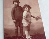 Standing Boys Blank Greetings Cards  featuring Vintage Images   Choice of border colour
