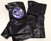 Leather Gloves with a Purple Vintage  Buttom (one of a kind )