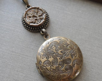 Golden Ivy, Locket Necklace with Antique Button