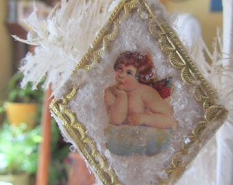 Vintage Style Pressed Spun Cotton Victorian Christmas/Easter Ornament with Raphael Cherub Scrap and Antique Mica
