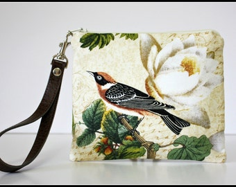 Bird Wristlet / Zipper Pouch / Coin Purse