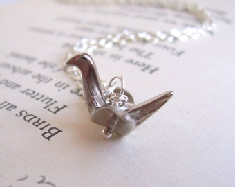 Silver Origami Crane necklace - silver bird charm - SALE