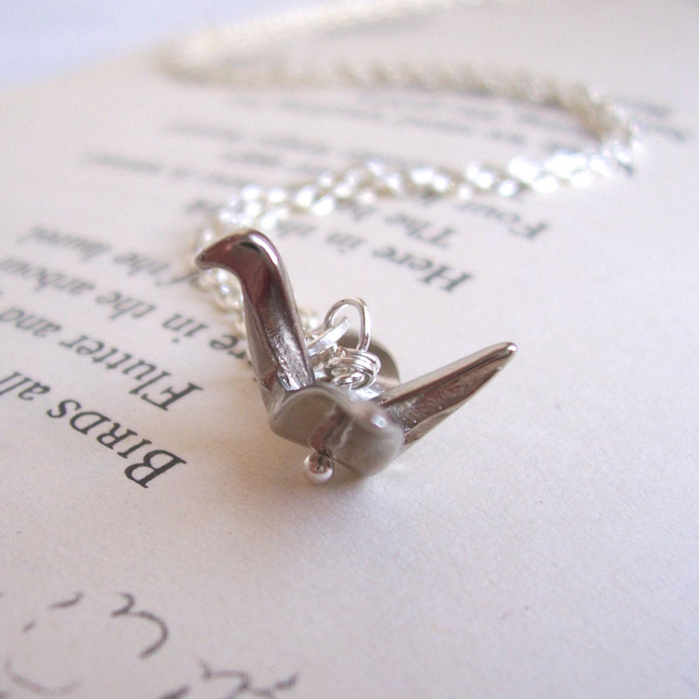 Silver Origami Crane necklace silver bird charm SALE - photo#29