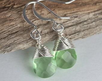 Light Green Silver Earrings, Wire Wrapped Green Silver Earrings, Silver Green Earrings, Dangle Earrings
