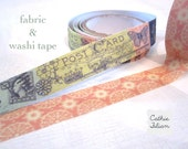 Washi and Fabric Tape - Vinatge Postage Stamp and Pink Doily - 2 rolls - Prima Divine - gift wrap scrapbooking