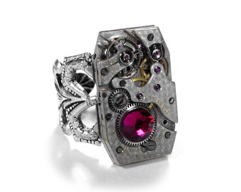Steampunk Jewelry Ring Vintage Art Deco Watch RUBY Crystal JULY Birthstone AUXILIARY MAGAZiNE Mens Womens Watch Ring - Jewelry by edmdesigns