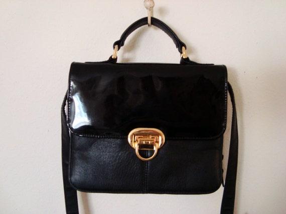 SALE - Awesome Black Leather Satchel Purse.