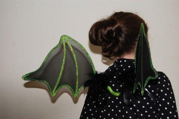 Bat Wings Dark Fairy Costume Halloween Goth Vampire Bat Black Green ON SALE