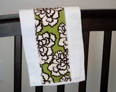 Huge Ivory/Brown Flower on Olive Green Baby Burp Cloth - Baby Shower Gift - Create-a-set