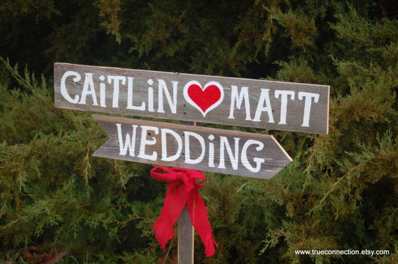 Wedding Sign Rustic Romantic Outdoor Weddings Red Heart Hand Painted Reclaimed Wood. Rustic Weddings. Vintage Weddings. Road Signs.