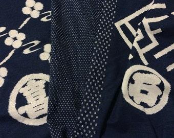 PANEL Japanese Olympus indigo wagara cotton Edo Era Emblems
