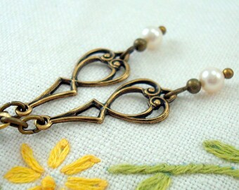 Vintage Style Earrings, Pearl Jewelry, Brass Filigree, Cream Swarovski Pearls, Janeite, Edwardian, Downton Abbey