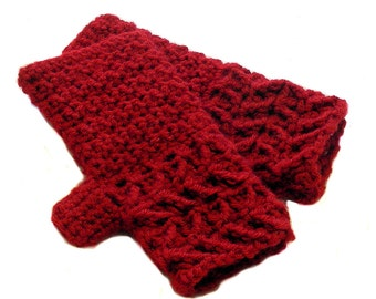 Ruby Red Crochet Fingerless Gloves with Chevrons, Red Texting Gloves, Cranberry Red Wristwarmers, GLC114-01