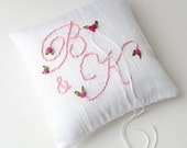 Personalized ring pillow, Made to order Initials Ring Pillow, Custom ring bearer pillow
