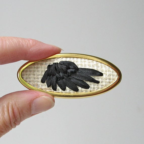 Black Wing Brooch silk ribbon embroidery on rustic burlap
