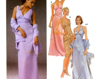 Bridesmaid Grad halter style evening dress sewing pattern Simplicity 5187 Sz 12 to 18