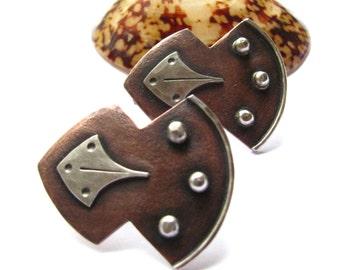 Artisan Copper Earrings, Contemporary Tribal Earrings, Large Shield Earrings, Bold Mixed Metal Earrings, Metalsmith Earrings, Copper Jewelry