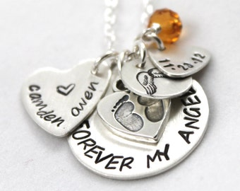 Mother's Day Gift for New Mom, Footprints Necklace with Baby's Name, Personalized Necklace, Forever My Angel, Birthstone Necklace